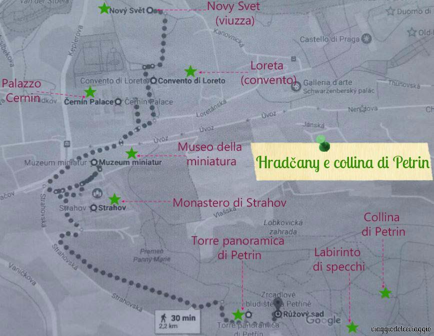 itinerario-hradcany-petrin praga map