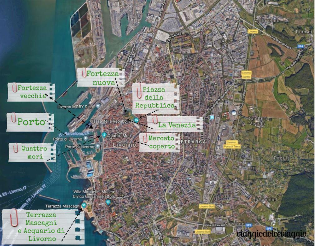 Mappa di Livorno, cosa vedere a Livorno