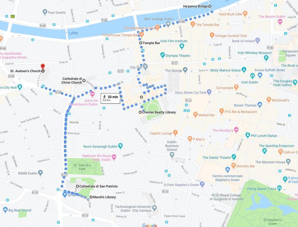 Mappa: itinerairo a Dublino, zona a sud del Liffey