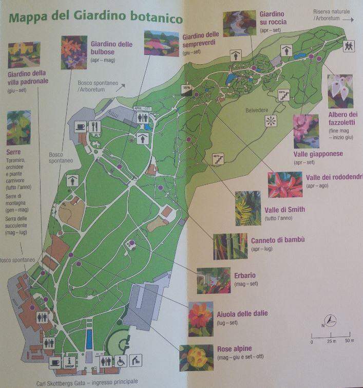 Mappa del giardino botanico di Goteborg