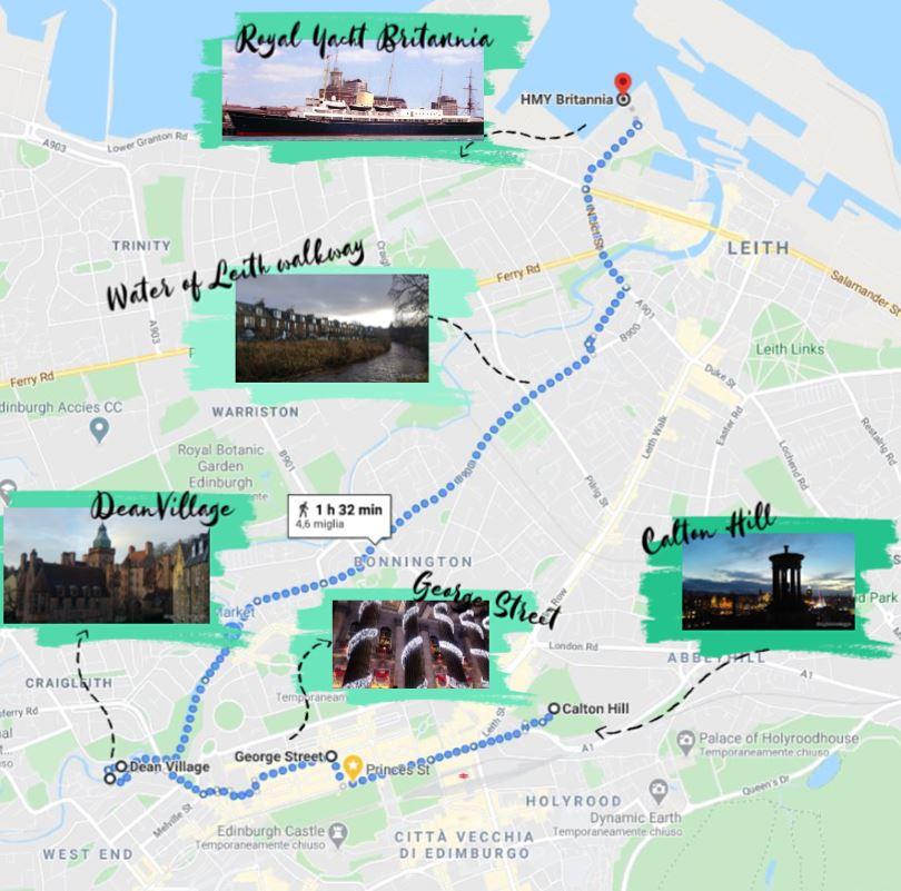 Mappa di Edimburgo, con tappe e foto