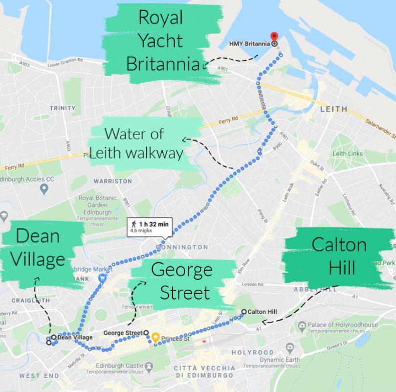Mappa di Edimburgo con tappe