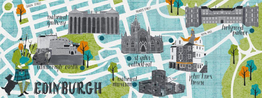Illustrazione mappa di Edimburgo